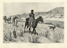FREDERIC REMINGTON SETTLER WITH INDIAN SCOUT HORSES DOGS HUNTING A BEAVER STREAM
