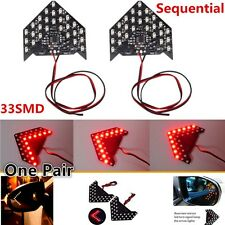 1pair Sequential Flashing 33-SMD LED Arror Car Side Mirror Turn Signal Light Red