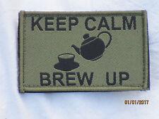KEEP CALM - BREW UP,Unit ID Morale Patch,Klett Rückseite ,Abzeichen,oliv