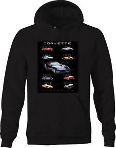 Hoodie Men Corvette Evolution 1955 2001 Vette American