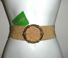 NWT LILLY PULITZER GOLD METALLIC WITH GOLD RING BECKETT BELT XS/S