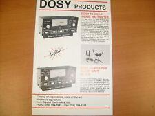 Vintage Dosy Swr Watt Meter Flyer advertisement catalog / f6
