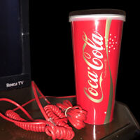 Vintage COCA-COLA DRINKING CUP WORKING TELEPHONE Collectible Novelty Phone 1987