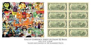 WORLD RELEASE OF UNCUT SHEET 8 U.S. $2 Bills POP ART ICONS by RENCY S/N # of 100