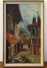 Vintage Mid Century Oil on Canvas Street Scene 1950s 1960s