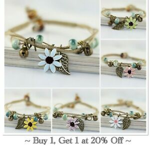 Bracelet Flower Daisy Beads Girls Ceramic Charm Jewellery Silver Ankle Girls
