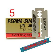 5 Perma-sharp Super Double Edge Razor Blades (1 X 5) Gratis Envío