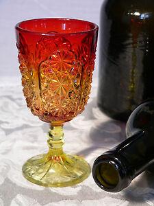 """Wine Glass, stemware, Amberina, Daisy & Button, thumbprint panel, LG Wright, 5""""t"""