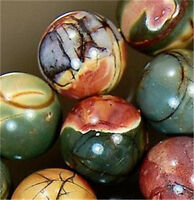 NATURAL 8MM PICASSO JASPER GEMSTONE ROUND BALL LOOSE BEAD STRAND 15""
