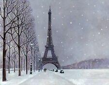 Eiffel Tower Winter, Snow, France, Refrigerator Fridge Magnet --- Christmas Gift
