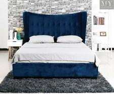 OCEANA King Blue Velvet Upholstered Bed - Wing Headboard Low Foot