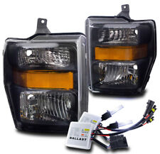 2008-2010 FORD F250 F350 F450 SUPER DUTY BLACK CRYSTAL HEADLIGHT LAMP W/10K HID