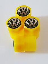 VW VOLKSWAGEN yellow VALVE DUST CAPS PLASTIC NON STICK 7 colours all models