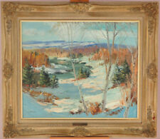 Sydney Berne (1921-2013) Canadian Vintage Oil/Canvas Quebec Winter Landscape