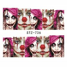 Nail Art Water Decals Stickers Transfers Halloween Freaky Vampire Clowns STZ736