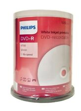 100 PHILIPS 16X Blank DVD-R White Inkjet Printable 4.7GB Cake Box FREE Priority