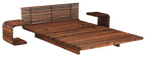 """100"""" W King bed luxurious brown slates polished exotic wood frame unique design"""