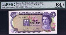 13-00273 # BERMUDA | LOW SERIAL#,PREFIX A/1, 10 DOLLARS, 1970, P# 25a,PMG 64 UNC