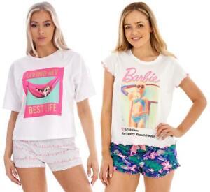 Ladies Summer Barbie Pyjamas Cute Dog T-Shirt & Shorts PJ Set