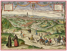Seville Andalusia Spain bird's-eye view map Braun Hogenberg ca.1598