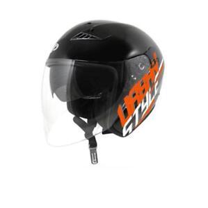 Casque jet UP Suburban Black shiny/orange Taille M visière solaire moto scooter