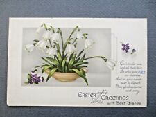 ANTIQUE Easter Greetings Postcard Snowdrops in Bowl & Violets Kaygee no 24