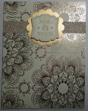 Stampin up! Handmade card Cream Gold Wedding Mr. & Mrs. Pearl Glitter w/envelope