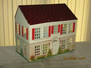 Litho Tin Metal Doll House 2-Story Colonial Red w/ Furniture & Accessories