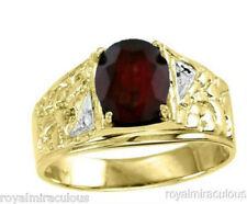 Mens Gold Ring Garnet 14K Yellow Gold (January Birthstone)