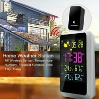 Weather Station In/Outdoor Digital Alarm Clock W/ LED Screen Date Time Display