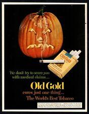 1952 OLD GOLD Cigarettes - Halloween-Pumpkin With Lit Cigarette VINTAGE AD
