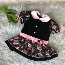 Vintage Baby Togs Velvet Floral Black & Pink Dress 3