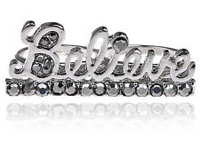 Gb deux doigt ice cold bling strass strass believe script ring