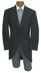 Men's Black Morning Coat Cutaway Frock with Long Tails 100% Wool Wedding 40R