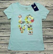 Skechers LOVE Floral Relaxed Summer Top Women's T-shirt Size M Blue Short Sleeve