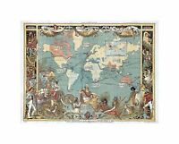 Map Repro Antique 1547 Portuguese Europe North Africa Large Art Canvas Print