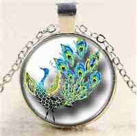 Peacock in Full Bloom Cabochon Glass Tibet Silver Chain Pendant Necklace