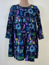 BNWT NEXT  navy blue floral animal print smock cotton dress size AG 2 - 3 Years