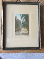 Signed & Framed Charles Sawyer Hand Painted Photo of Mission, San Gabriel