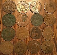 LOT OF 16 UK GREAT BRITAIN HALF PENNY LOT OF 16 COINS