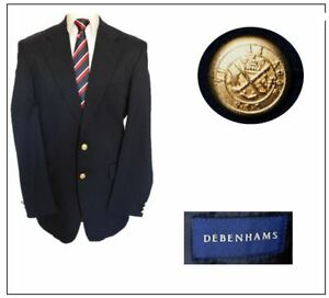 "Debenhams Mens Classic Jacket Blazer Ch40""L Navy military style Brass buttons"