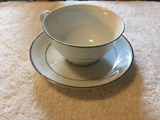 Noritake Fine China Japan Buckingham Pattern White w/ Platinum Trim Cup & Saucer