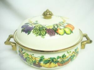 8 qt Enamel Dutch Oven Pot Tabletops Unlimited Kensington Gardens Fruits Mint