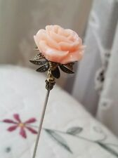 Victorian Hat Pin Vintage Inspired Peach Rose Bead Antique Brass Fittings Strong