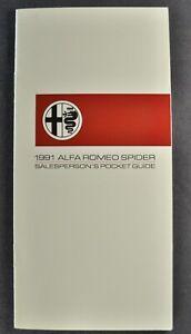1991 Alfa Romeo Spider Salesmen Pocket Guide Roadster Excellent Original 91