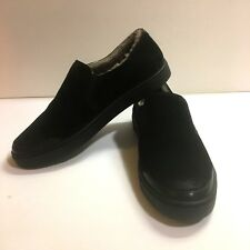 Frye 9 Black Gemma Shearling Slip On Shoes Distressed Suede Leather