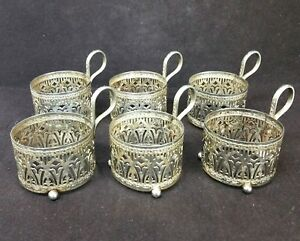 6 Antique Islamic 84 Silver Glass Cup Holders