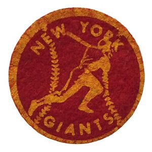 """1940'S/50'S NEW YORK GIANTS MLB BASEBALL VINTAGE 2"""" TEAM PATCH RED YELLOW"""