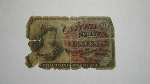 1863 $.10 Fourth Issue Fractional Currency Obsolete Bank Note Bill! 4th Filler