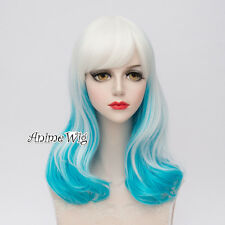 50CM Ombre Lolita White & Blue Wavy Party Hair Bangs Cosplay Cute Wig Halloween